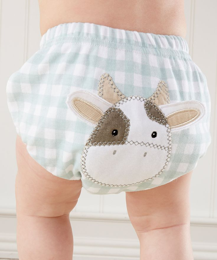 Baby Aspen Blue White Gingham Cow Diaper Cover Infant