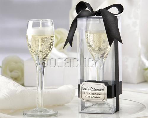 Vela de gel en forma de champagne / Cussí Gifts and Ideas / Recuerdos para los invitados al a boda / DF