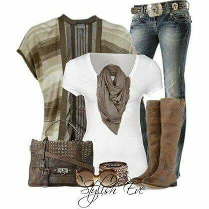 Grey Shaw with jeans and boots! Cute remix