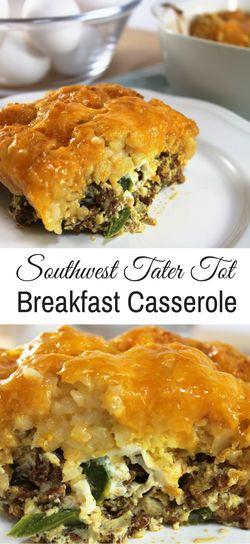Southwest Tater Tot Casserole | Brunch | Breakfast | Simple Recipes