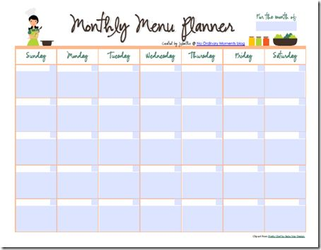 Free Editable Monthly Menu Planner