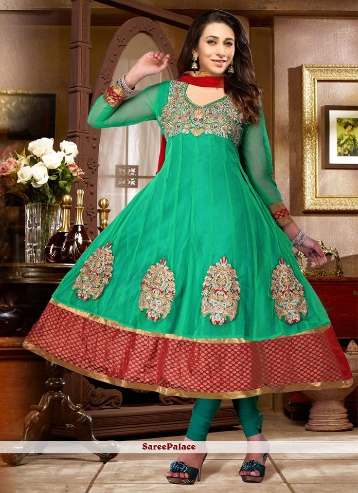 Karisma Kapoor Style Green Faux Georgette Anarkali Suit