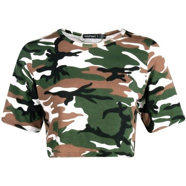 Petite Mira Camo Print Crop Top (£1.99) ❤ liked on Polyvore featuring tops, crop tops, shirts, green crop top, camoflauge crop top, camoflage shirt, camo crop top and camouflage shirt