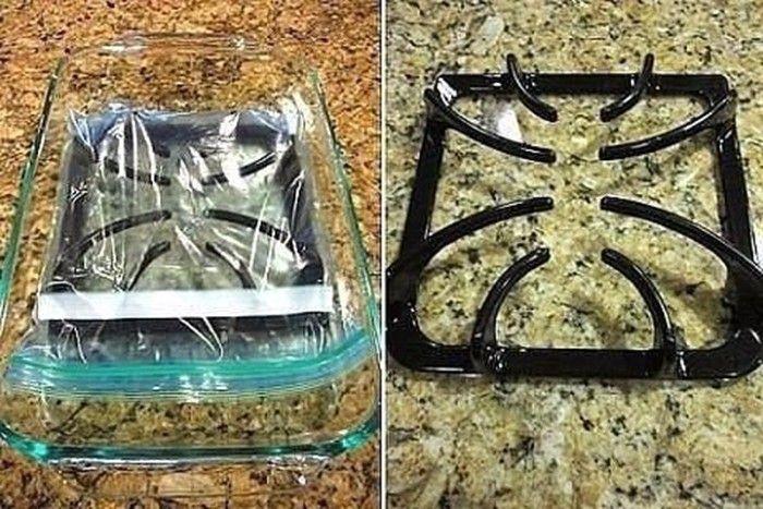 Na vyčištění smaltovaných hořáků na sporáku Vám postačí pouze 2 věci: čpavek a sáček na odpadky nebo mikrotenový sáček.