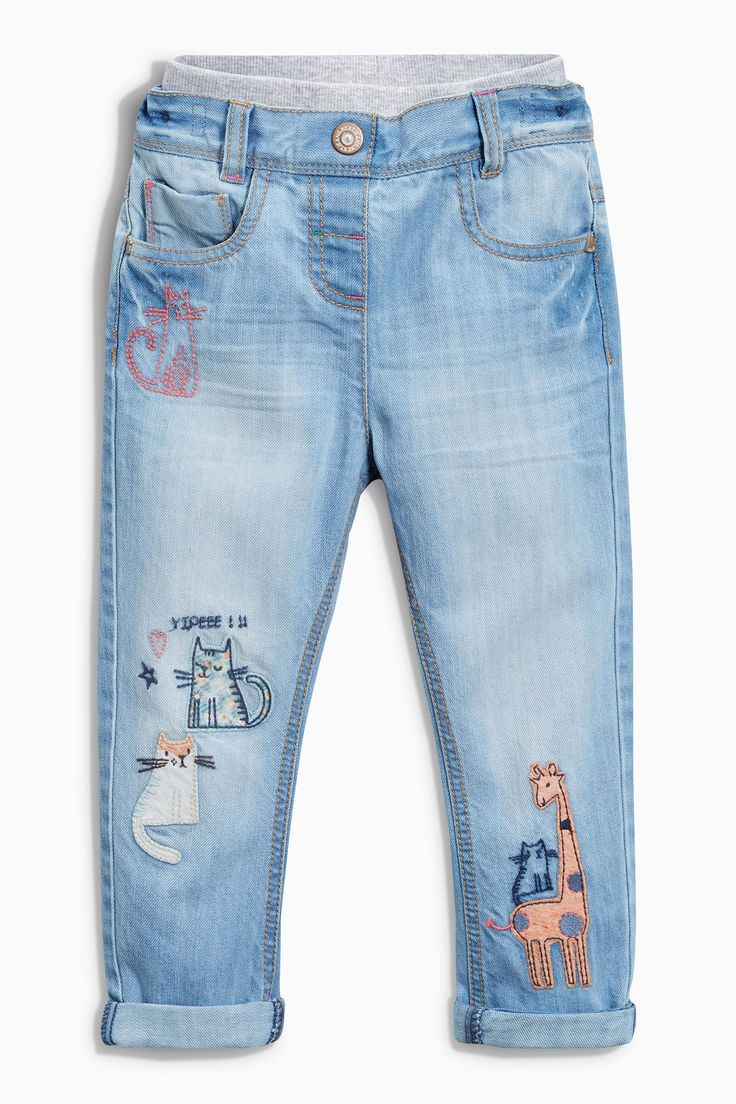 Buy Light Blue Embroidered Pull-On Jeans (3mths-6yrs) from the Next UK online shop