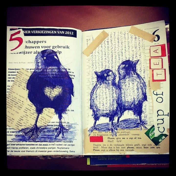 bic and collage in daily planner #dailidrawing #jackdaw