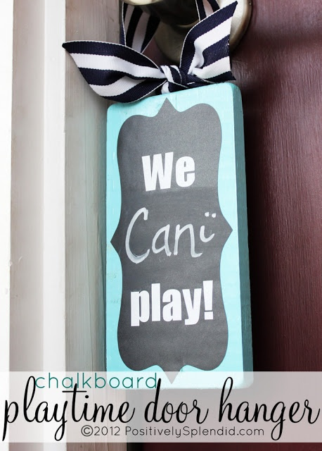 Wood chalkboard can can't play sign plaque for door ...