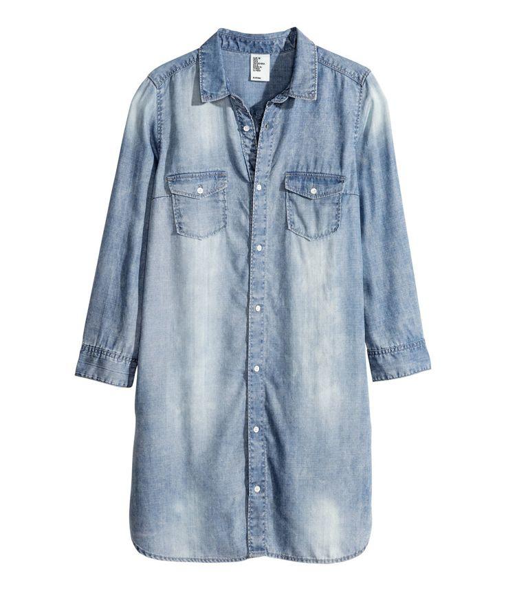 Light blue denim shirt dress with 3/4-length sleeves & front pockets.   H&M Denim