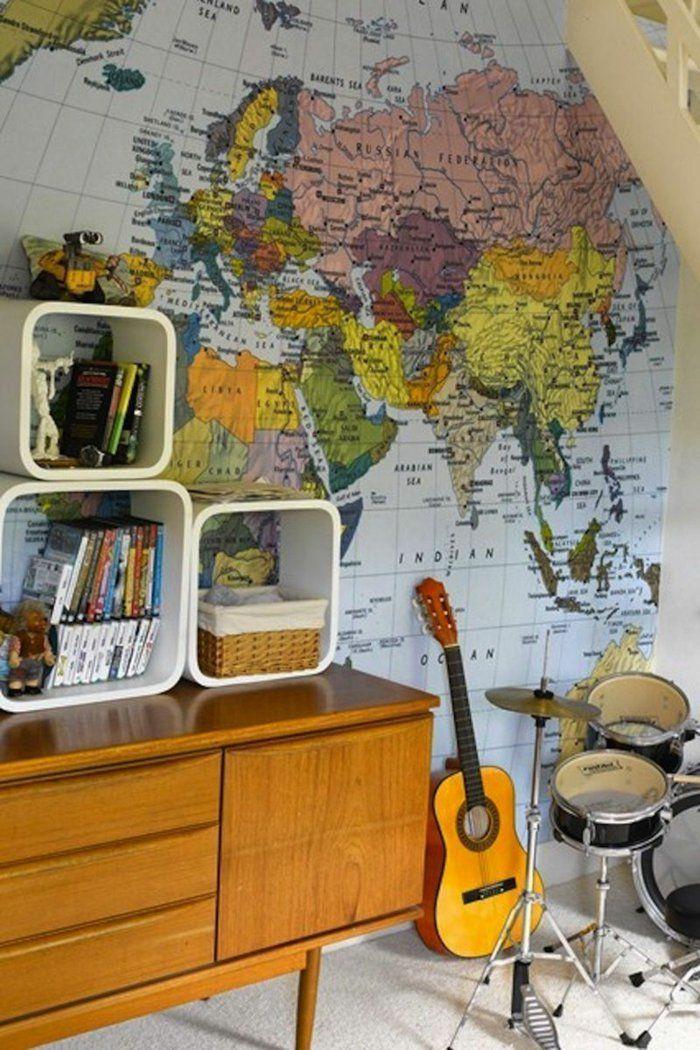 Spectacular dekoideen wanddeko weltkarte tapete kinderzimmer gestalten musikinstrumente