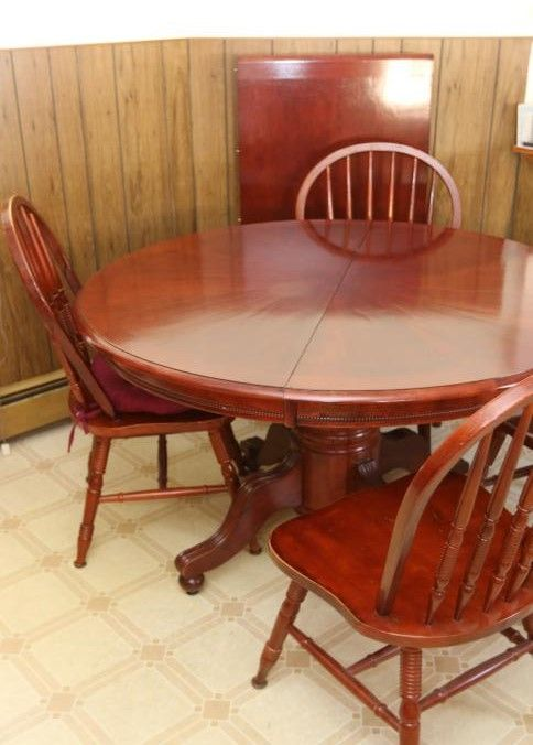 """Expandable Kitchen table and chairs 48"""" dia,x30"""" tall when ..."""