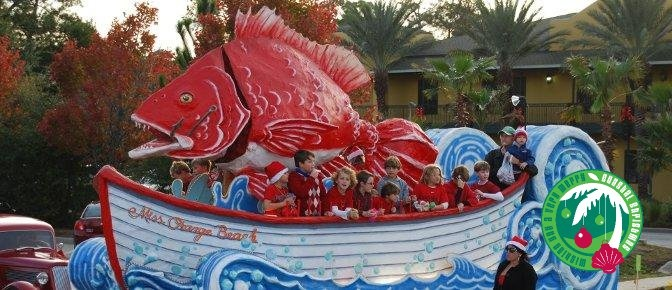 The City of Orange Beach float in the Gulf Shores Christmas Parade.