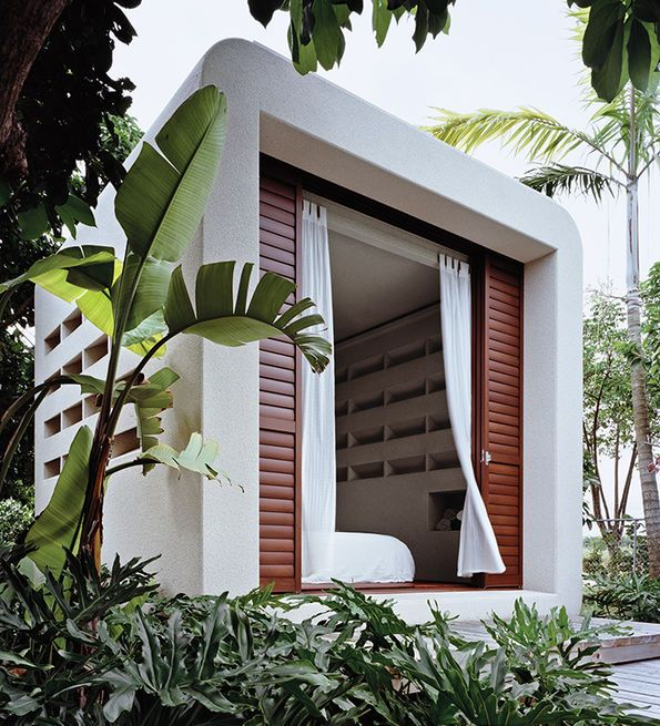 Cubicco's prefab houses, like the Cabana Beach model, are built with laminated veneer lumber, an engineered material that uses up to 90 percent of a tree—compared to typical wood timbers that use only 60 to 70 percent.
