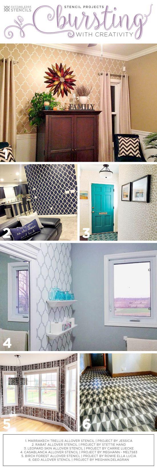 Cutting Edge Stencils shares DIY stenciled room ideas using wall stencils. http://www.cuttingedgestencils.com/wall-stencils-stencil-designs.html?utm_source=JCG&utm_medium=Pinterest%20Comment&utm_campaign=New%20Stencil%20Designs