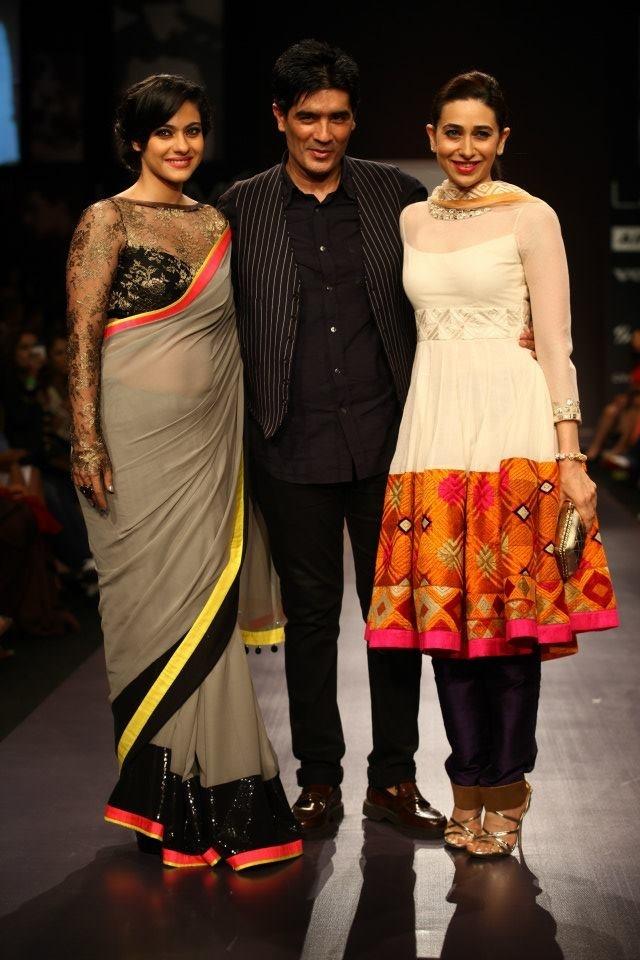 Kajol and Karisma Kapoor in Manish Malhotra designs for Lakme India Fashion Week 2013