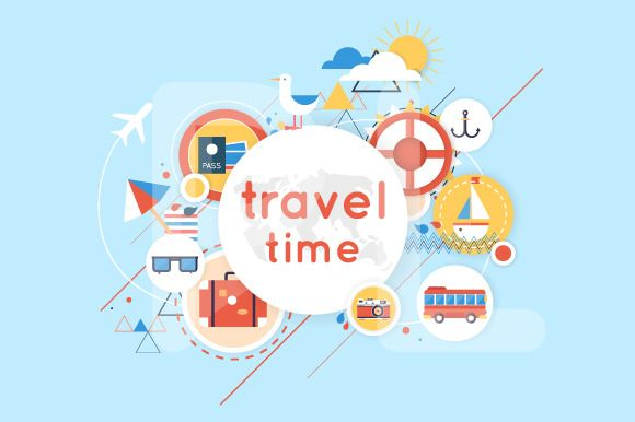 Summer vacation, traveling, tourism. by Podis on Creative Market