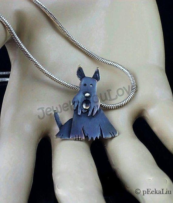 Scottish Terrier Dog Necklace 925 Sterling Silver Scottie 3D Charm Pet NEW