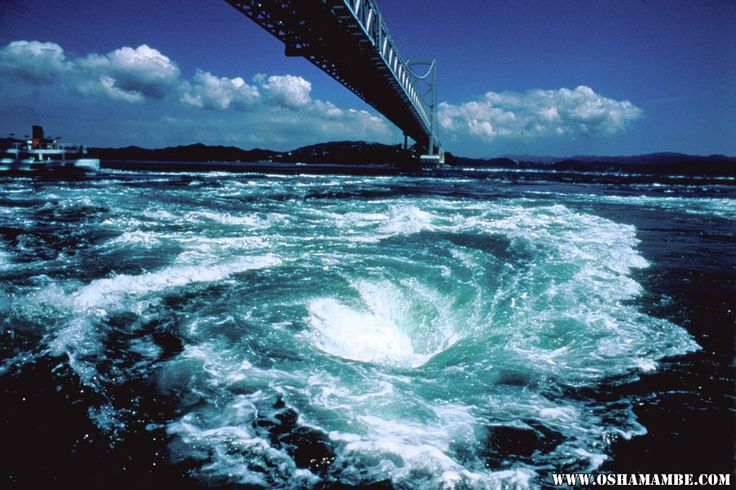 Naruto Whirling Waves is counted as one of the Top 3 Tides on Earth. Above it, you can see the 1629 m-long beautiful bridge, Ōnaruto Bridge.
