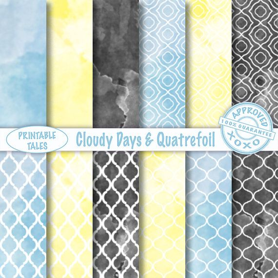 Quatrefoil and Cloudy Sky digital papers 'Cloudy by PrintableTales