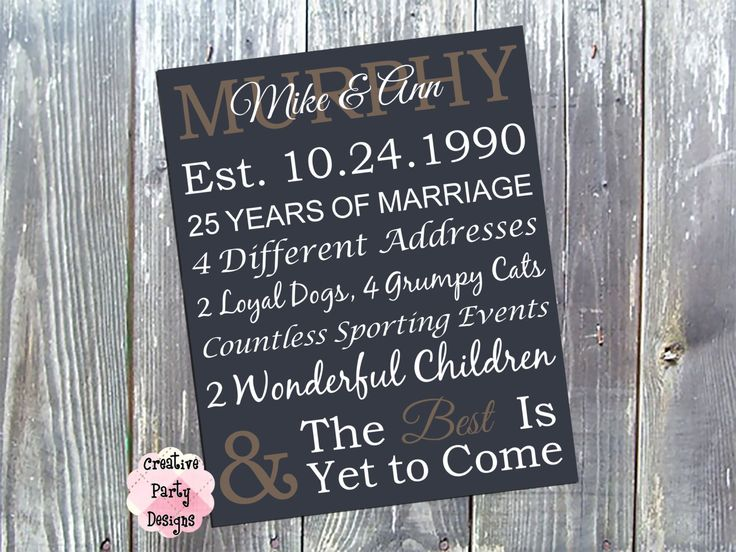 25th Wedding Anniversary Gift Ideas Your Husband Uk : about Gift Ideas on Pinterest Personalized anniversary gifts, 25th ...