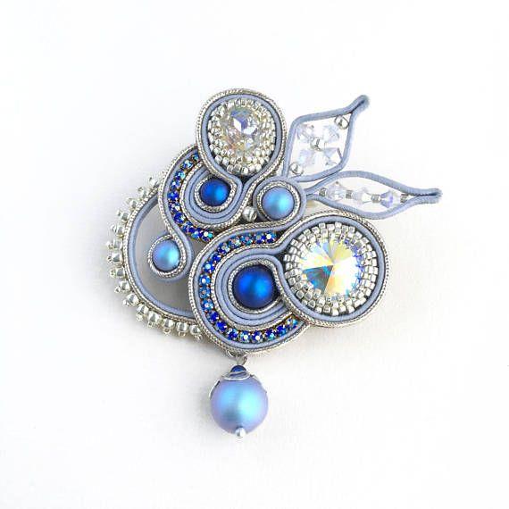 Soutache brooch Blue brooch Beaded brooch Swarovski brooch