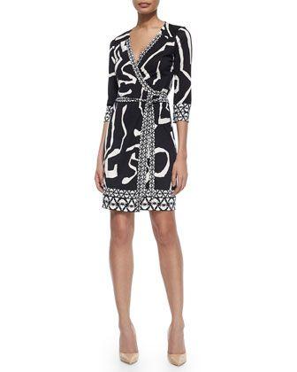 Abstract Silk Wrap Dress, Black by Diane von Furstenberg at Neiman Marcus.