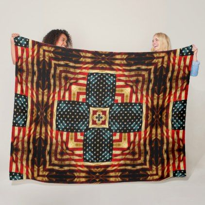 Vintage Steampunk Civil War American Flag Quilt Fleece Blanket - cyo diy customize unique design gift idea perfect