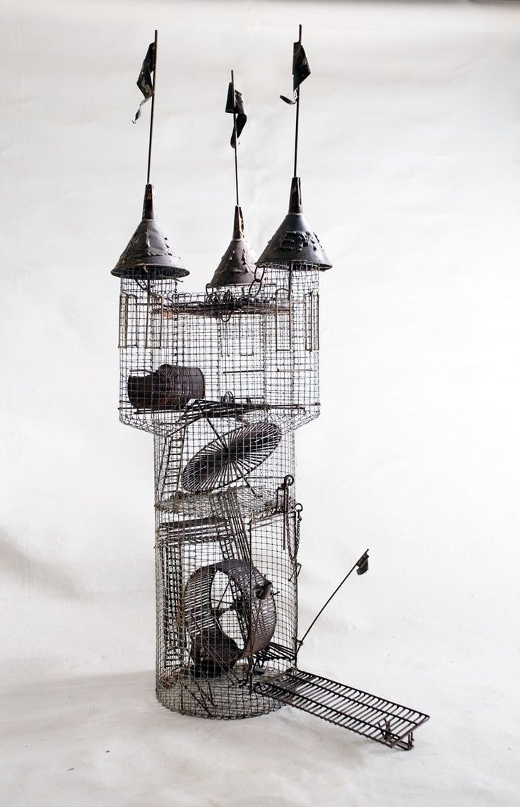 Hobart Ray Brown, (American, 1934 –2007) Kinetic sculpture,  Hamster cage in the form of castle