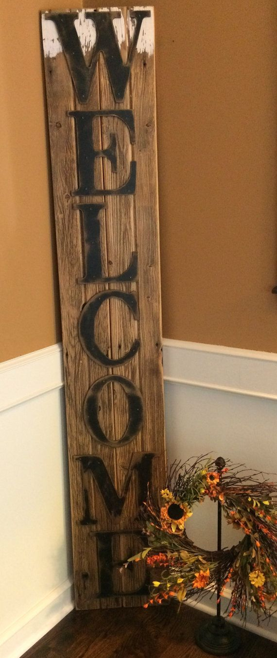 Rustic Welcome Sign On Reclaimed Barn Wood Vertical