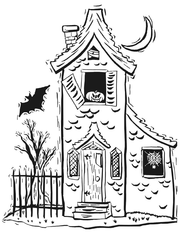 halloween coloring pages | haunted house coloring page: halloween coloring page