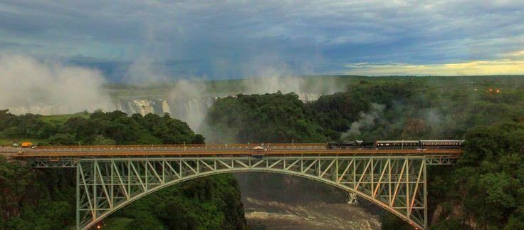 The Bushtracks Express on the Victoria Falls Bridge. bushtracksafrica.com