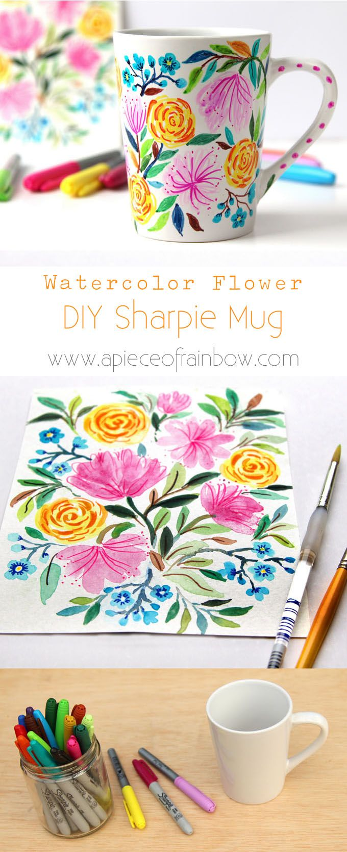 Create a beautiful watercolor flower DIY Sharpie mug that looks like hand painted Anthropologie ceramics! Video tutorial plus tips on durable finishes. - A Piece Of Rainbow http://www.apieceofrainbow.com/watercolor-flower-diy-sharpie-mug/