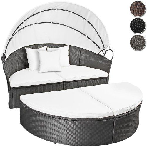 Polyrattan sonneninsel lounge liege farbwahl inkl kissen for Outdoor lounge bed with canopy