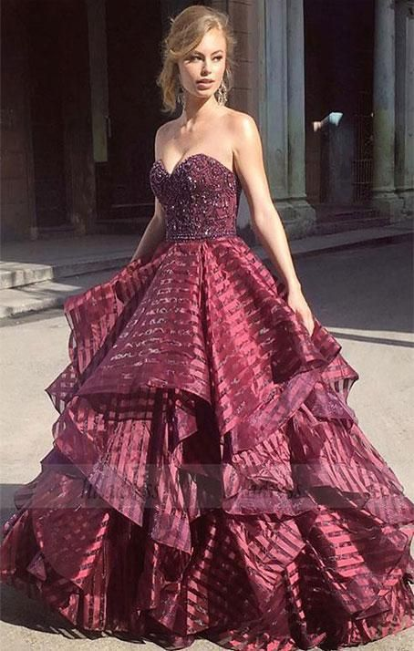 3d0759c0f013 Charming Ball Gown Sweetheart Strapless Burgundy Long Prom Dress,BD98572