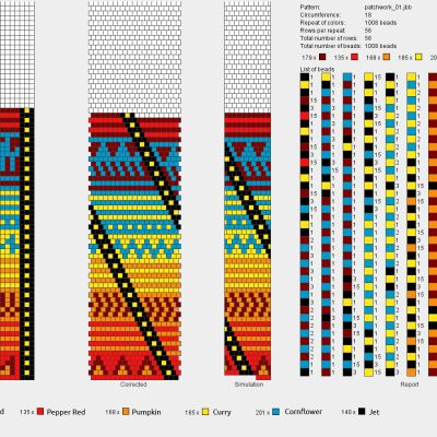 "bead crochet chart - bright colours w/""tribal"" bead pattern"