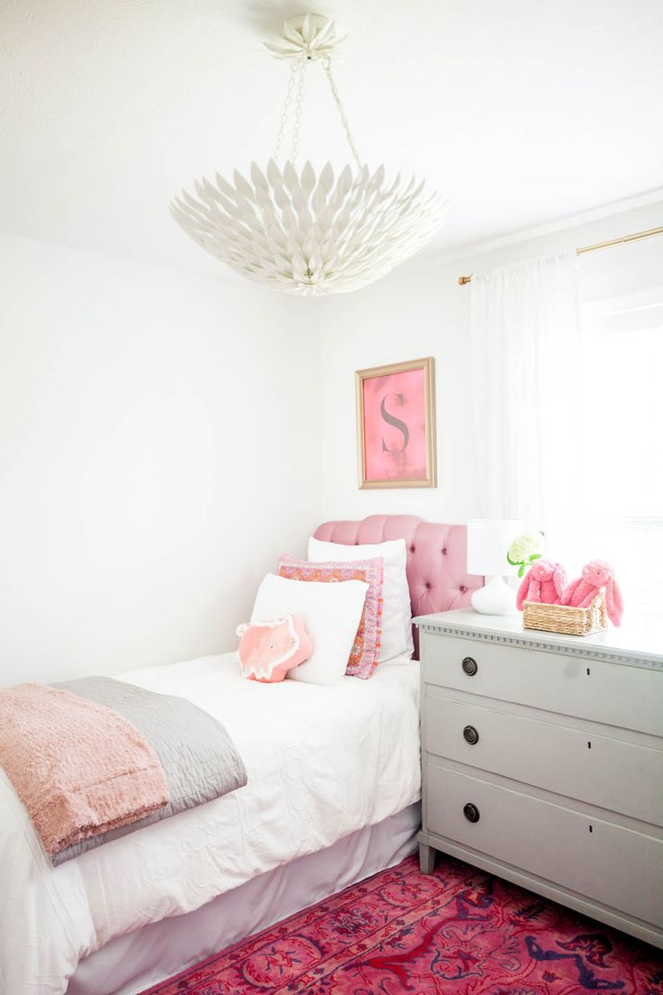Girls bedroom with pink white accents | At Home in Tennessee with Ashley Cooper | Rue