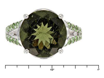 3.82ctw Round Moldavite With .42ctw Round Tsavorite Sterling Silver Ring