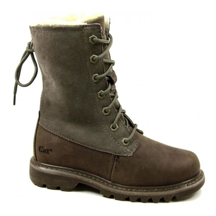 Womens CAT Caterpillar Bruiser Scrunch Lace Fur Lined Leather Boots Size 3-8 UK