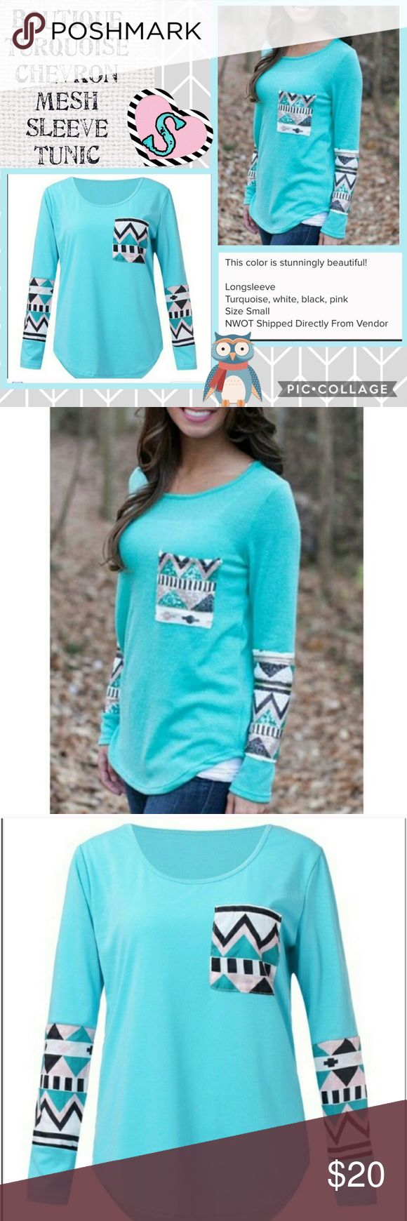Turquoise Tunic with Chevron Pocket & Mesh Sleeve Brand new from boutique distribution warehouse with out tags. Round neck casual long sleeve Tunic is a lovely Turquoise color, and features Chevron mesh accents on the sleeves, and pocket.  The accent colors are black, white, Turquoise and dusty pink. Boutique Tops Tees - Long Sleeve