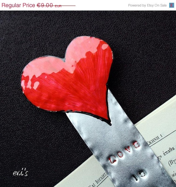 ON SALE Hand Painted Red Valentine's Heart by EVIsMetalworkJewelry, €7.65