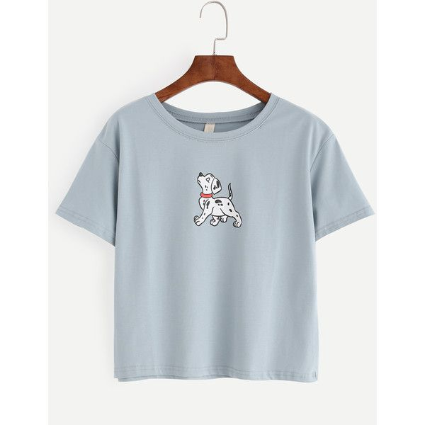 Blue Dog Print T-shirt ($6.99) ❤ liked on Polyvore featuring tops, t-shirts, blue, stretch top, blue short sleeve top, blue t shirt, dog top and dog t shirts