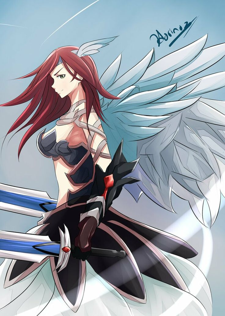 Knight? Warrior? Swordman? Angel? She is beautiful. Dual sword. Black dress. Red hair.