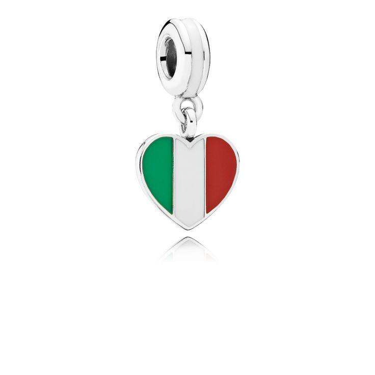 PANDORA   Italy Heart Flag, green, white and red enamel