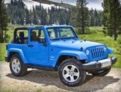 Its blue, a jeep, and convertable. What more could ya ask for? Girls new car :)