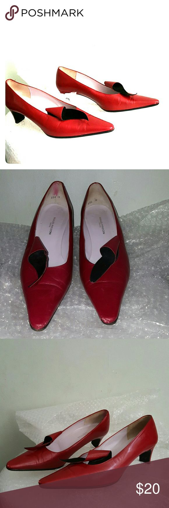 MAUD FRIZON Paris red leaf pumps size 38 Vintage pair. Red leather upper with an elegant leaf-like detail. Scubbing at toes and a left heel. Made in Italy. MAUD FRIZON Shoes Heels