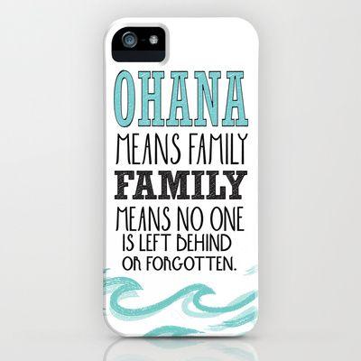 ohana means family.. lilo and stitch disney...  iPhone & iPod Case