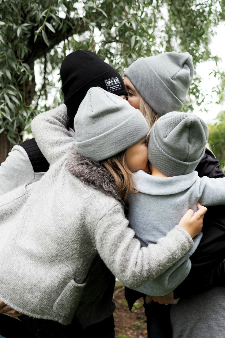 Team beanies, family beanies in grey and black. Organic non toxic merino wool beanies for Women Men girls and boys, kids.