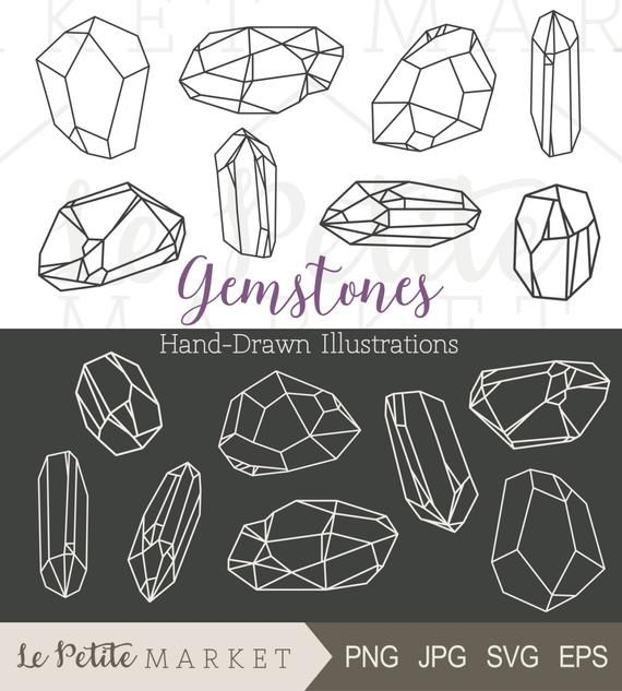 Hand Drawn Gem Clipart Crystal Clipart Bling Clip Art Hand Etsy In 2020 How To Draw Hands Clip Art Crystal Illustration