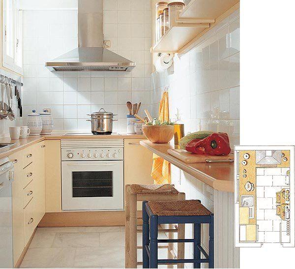 C mo distribuir la cocina minis y oficinas for Distribuir cocina cuadrada