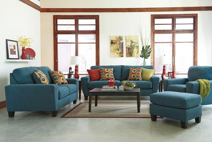 17609  Sagen Teal 3 Piece Living Room Set