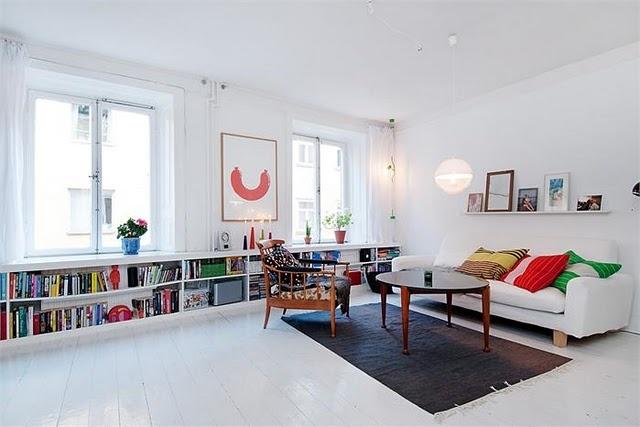 love the low books and white floors.: Interior Design, Ideas, Bookshelves, Living Rooms, Window, Interiors, Livingroom, Apartment